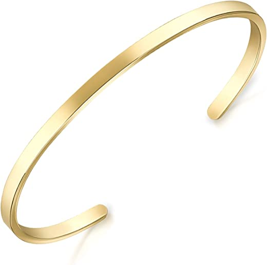 Lolalet Thin Open Cuff Bracelet, 18K Rose Gold/Gold Plated Couples Oval Love...