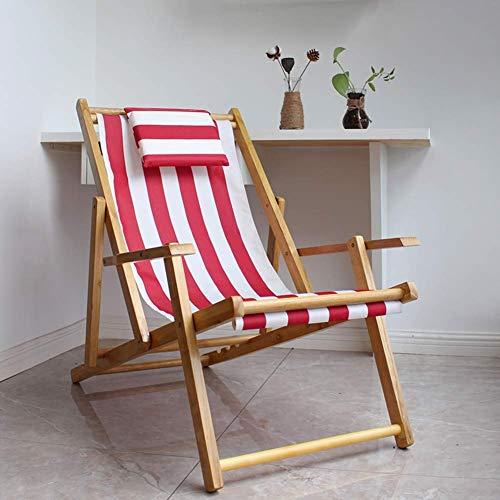 Silla de Playa al Aire Libre al Aire Libre, sillón Plegable de Madera con reposabrazos, sillón reclinable para Tomar el Sol a Rayas para jardín, Patio, Piscina