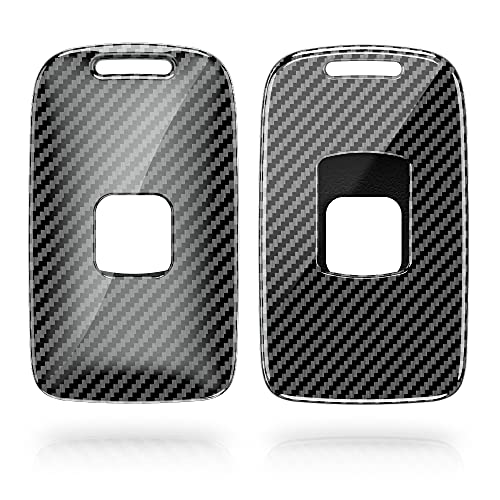 kwmobile Autoschlüssel Hülle kompatibel mit Renault 4-Tasten Smartkey Autoschlüssel (nur Keyless Go) - Hardcover Schutzhülle Schlüsselhülle Cover Carbon Schwarz