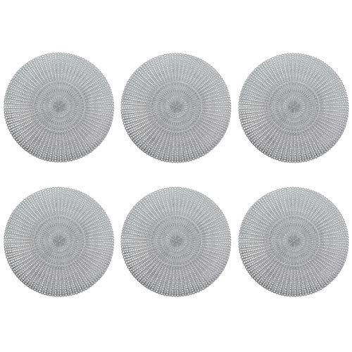 Zeller Lot de 6 Sets de Table Ronds en PVC Argenté