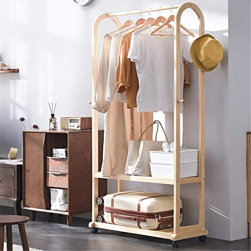 Feixunfan Clothes Garment Rack Hanger Floor Bedroom Solid Wood Coat Rack Simple Hanger Household Rack Multifunctional Clothes Rack for Bedroom Entrance (Color : Natural, Size : 180x35x80cm)