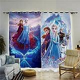 Fgolphd Juego de cortinas opacas Anime Frozen con impresión 3D de Anna y Elsa, Olaf, para habitación de los niños, opacas para decoración de salón o dormitorio (100 x 140 (ancho x alto), 3)