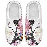Linomo Pantuflas florales para mujer, para casa, para mujer, zapatos de casa, zapatos de casa, zapatos de dormitorio, multicolor, 45/46 EU