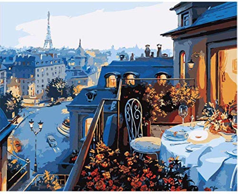 alto descuento UPUPUPUP Pintura del del del Paisaje para la decoración de la Sala de EEstrella, balcón París, Dibujo por el Arte de la Parojo de los números, 50X70Cm Enmarcado  descuento