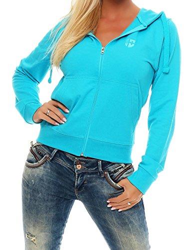 Gennadi Hoppe Sweatshirt Jacke Damen Trainingsjacke (4XL, Türkis)