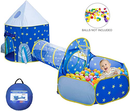 omysky Kids Play Tent, Rocket Ship Kids Playhouse Tent with Crawl Tunnel Ball Pit, Foldable Indoor&Outdoor Children Play Tent for Boys, Girls, Babies, and Toddlers, Blue 3pc
