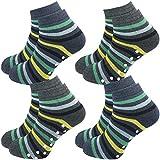 GAWILO 4 Paar Kinder Stoppersocken – ohne drückende Naht – ABS Socken – Turnsocken – Haussocken – Thermo – Vollplüsch – ideal bei kalten Füßen und zum Kindersport (35-38, farbig 3)