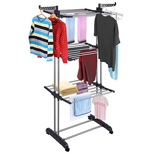 Yinmake Clothes Airer, 3 Tier Folding Stainless Steel Drying Rack, Indoor Laundry Garment Stand, Outdoor Heavy Duty Clothes Horse for Garden and Yard, Black
