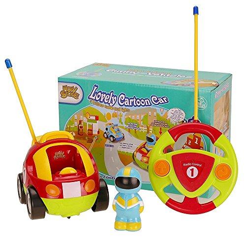 Holy Stone - Coche de carreras de dibujos animados teledirigido con música y luces, juguete de radiocontrol para bebés y niños