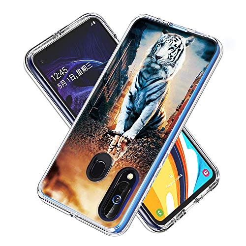 Phone Case for Samsung Galaxy M40 / A60 Shockproof Hard Plastic Back + TPU Soft Bumper Protective, Cover with Kawaii Cartoon Card Phone Case (Reflection Cat)