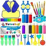 Yetech Kits de Pintura artística con Dedos para niños,36pcs Kits de Pintura Temprana Bricolaje ,Lavable no tóxicas,Libro de Dibujo,Delantal de Pintura,Niños Pintura Temprana Artes DIY Artesanías