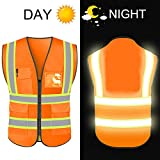 High Reflective Visibility Safety Vest Protective Safety Workwear with Reflective Strips and Front Zipper...