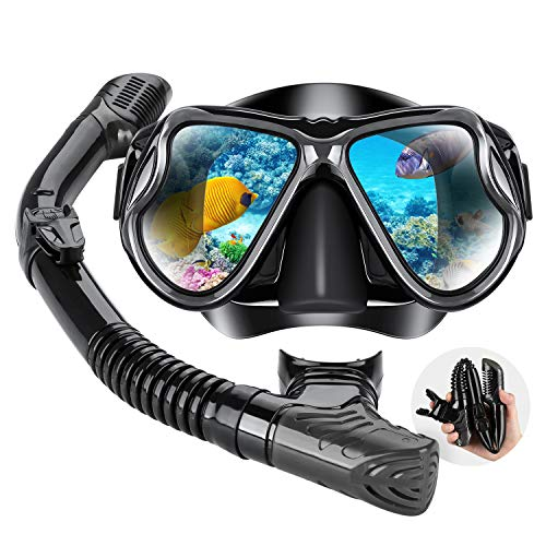 Dry Snorkel Mask Set Snorkeling Gear  Foldable Dry Snorkel Set with Dry-wet Switchable Float Valve, Purge Valve Tube, Anti Fog 180 Panoramic Silicone No Leak Seal Mask for Adults and Youth