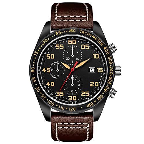 Relojes para Hombre Reloj Impermeable Deportivo para Hombres, Reloj de Pulsera de Pulsera de Cuero, con Calendario, Impermeable y Regalo Elegante a Prueba de rayones B