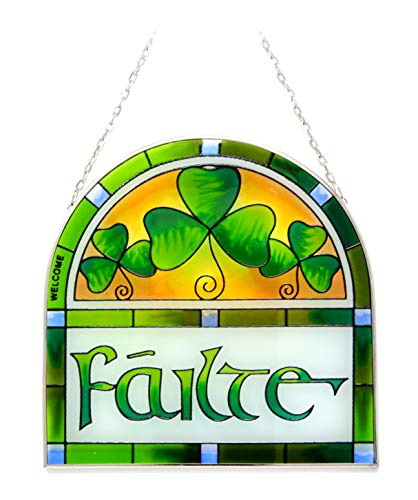 Irish Suncatcher - Failte Stained Glass Arch Window Hanging Designed in Galway Ireland