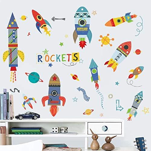 WandSticker4U®- XL Wandtattoo RAKETE Kinder I Wandbilder: 85x140 cm I Wandsticker Kinderzimmer Junge Weltraum Weltall Planeten Aufkleber Sternen Raumschiff bunt I Wand Deko für Jungenzimmer