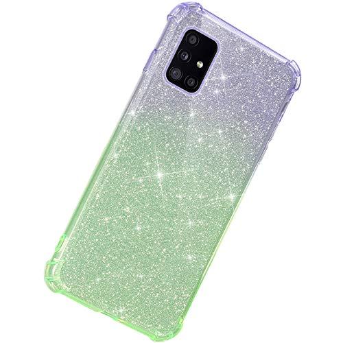 Herbests Kompatibel mit Samsung Galaxy A51 Hülle Durchsichtig Farbverlauf Glänzend Kristall Glitzer Transparent TPU Silikon Handyhülle Ultradünn Stoßfest Bumper Case Schutzhülle,Lila Grün