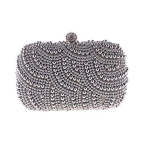 LLUFFY-Clutchmonederos Bolso de las mujeres exquisito bolso del partido de la tarde bolso de la perla bolso de embrague bolso de mensajero de la manera clásica, 17 * 12 * 4cm, plata