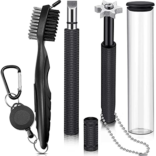 3 Pieces Golf Club Groove Sharpener Retractable Golf Brush and 6-Head Groove Sharpener Re-Grooving Tool and Cleaner for All Golf Irons Pitching, Sand, Lob, Gap, Approach Wedges, Utility Clubs (Black)