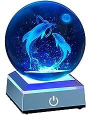 クリスタル ボール イルカ 80mm 3D 水晶玉 海豚 星のランプ ベッドサイドランプ インテリア LEDライト 多色変更 かわいい 置物 おしゃれ 癒し グッズ 雰囲気 誕生日プレゼント 引っ越し 結婚記念 母の日 クリスマス 新年 お祝いギフト ホーム寝室オフィスパーティーの飾り