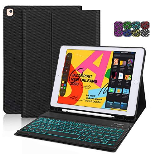 ipad Keyboard Case 10.2 inch, CHEERS 2020 ipad 8th 7th Generation Case with Backlit Keyboard, Pen Holder Design ipad Case for Apple 2019 ipad 10.2 / ipad Pro 10.5 2017 / ipad Air3 Gen, Auto Wake/Sleep