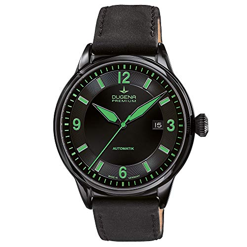 DUGENA Herren-Armbanduhr 7000301 Kappa 1, Automatik, schwarzes Zifferblatt, Edelstahlgehäuse, Saphirglas, Lederband, Dornschließe, 5 bar