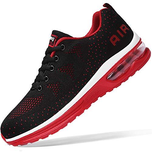 Zapatillas deportivas para hombre Air Athletic Running Tenis Ligeras Deporte Gimnasio Jogging Caminar Zapatillas US 6.5 – US12, (Negro, rojo), 43.5 EU