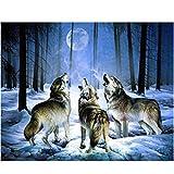 Juego de Pintura Cuadro Lobo Multicolor Artes Bordado Mosaico Majo Hermoso Decoración -...