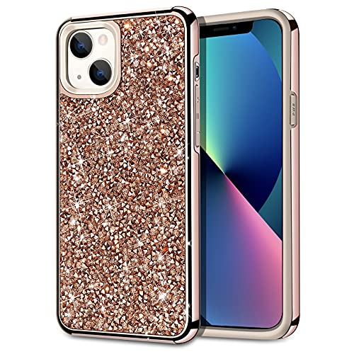 HoneyAKE Compatible with iPhone 13 Case Glitter Rhinestone Bling Diamond Case for Girls Women Shockproof Handmade Dual Layer Bumper Anti-Slip Protective Phone Cover for iPhone 13 6.1 inch Rose Gold
