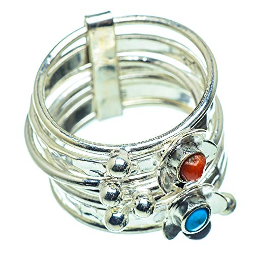 Ana Silver Co Tibetan Turquoise, Red Coral Ring N (925 Sterling Silver)
