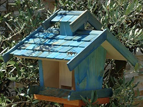 vogelhaus mit ständer, BEL-X-VOVIL4-MS-blau002 Robustes, stabiles PREMIUM Vogelhaus KOMPLETT mit Ständer wetterfest lasiert, FUTTERHAUS für Vögel, WINTERFEST – MIT FUTTERSCHACHT Futtervorrat, Vogelfutter-Station Farbe blau SKY BLUE himmelblau hellblau mittelblau dunkelblau/natur, MIT TIEFEM WETTERSCHUTZ-DACH für trockenes Futter, Schreinerarbeit aus Vollholz - 6