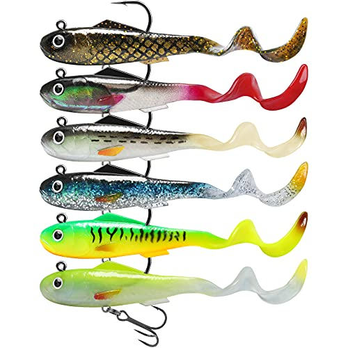 GOTOUR Fishing Lures for Bass, Pre-Rigged Weedless Soft Plastic Lures, Trout Pike Walleye Fishing Jig Heads, Fishing Gear Soft Baits, Paddle Tail Swimbaits, Freshwater or Saltwater Fishing Tackle