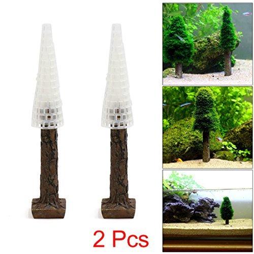 uxcell 2 Pcs Plastic Moss Christmas Tree Trunk Ornament for Aquarium Fish Tank