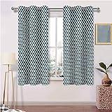 painting-home - Cortina de ventana con ojales, diseño contemporáneo, diseño de zigzag y cuadrados, poliéster, Multi 05., 214x183 CM