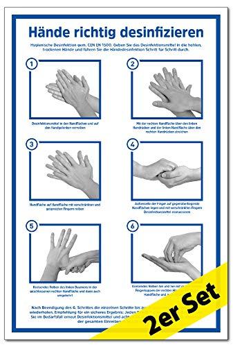 2x Aufkleber Hände richtig desinfizieren | gemäß CEN EN 1500 | 200 x 300 mm Folie selbstklebend | Anleitung Händedesinfektion Hände waschen | Hygiene Desinfektion | Handdesinfektion Händewaschen | LEMAX®