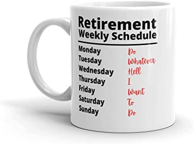 Funny Retirement Gifts for Women Men Dad Mom. Retirement Coffee Mug Gift. Retired Schedule Calendar Mugs for Coworkers Office & Family.