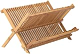 Bamboo Dish Drying Rack | 2 Tier & Folding Collapsible | 18.5' X 13' Inches | Organic Wooden Dish Drainer Wood Kitchen Utensil & Plate Dryer