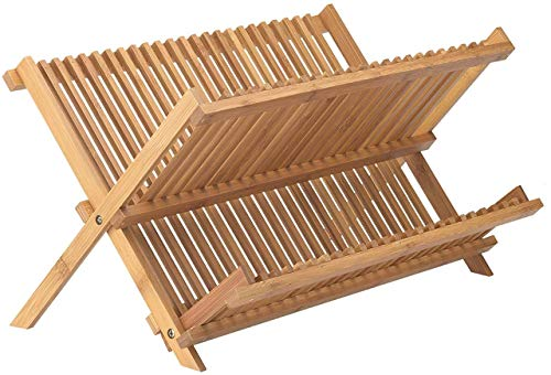 """Bamboo Dish Drying Rack   2 Tier & Folding Collapsible   18.5"""" X 13"""" Inches   Organic Wooden Dish Drainer Wood Kitchen Utensil & Plate Dryer"""