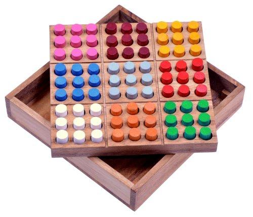 Farb Sudoku - Steckspiel - Denkspiel - Knobelspiel - Geduldspiel - Logikspiel - Brettspiel aus Holz mit farbigen Steckern