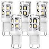 Lampadine LED G9 Bianco Freddo 6000K, 3W Equivalente Alogeno 20W 30W, Non Dimmerabile Nessun Sfarfallio Lampade LED G9, AC220-240V G9 LED Lampada, Confezione da 5, Eco.luma