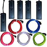 TDLTEK 5 Pack [Sound Activated] El Wire Glowing Neon Light with 4 Mode Controllers - Solid on, Strobe, Sound Actavated, Off