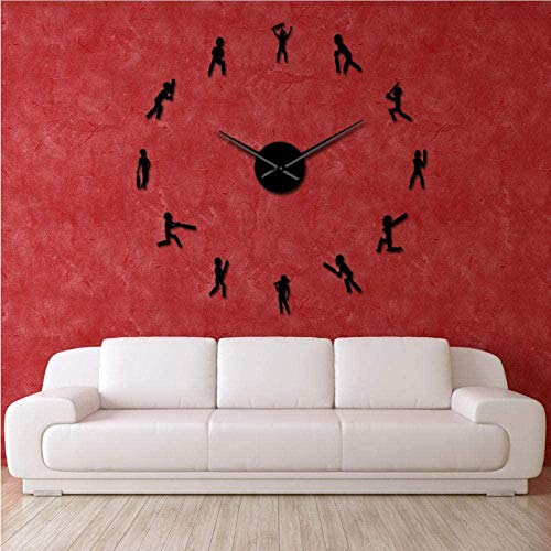 Reloj de pared gigante con silueta de jugador de cricket para niños, diseño de silueta de deportista, reloj de pared grande, 27 pulgadas