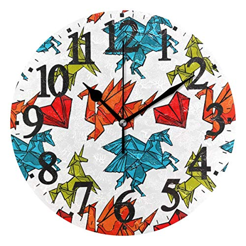Meili Shop Runde Wanduhr Origami Dragon Unicron Herz Home Art Dekor Uhr für Home Office