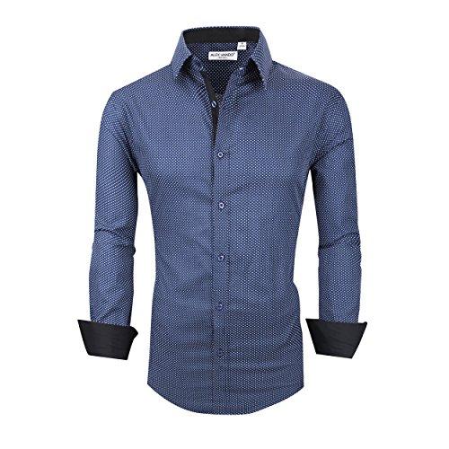Alex Vando Mens Dress Shirts Cotton Casual Regular Fit Long Sleeve Collar...