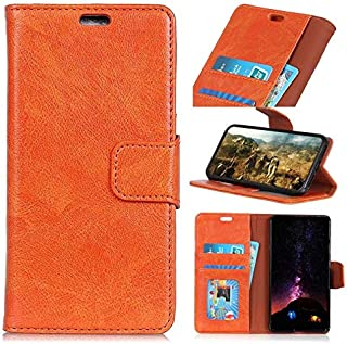 Wallet Case for Samsung Galaxy S10, Retro PU Leather Solid Color Protective FILP Wallet Case with Card Slots & Kickstand for Samsung Galaxy S10 (Color : Orange)