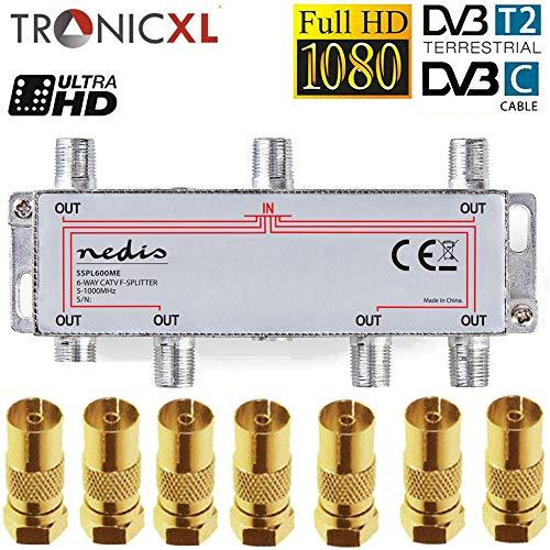 TronicXL 6fach Premium Koax Antennenverteiler HD 3D 4K Verteiler Weiche Splitter zb für DVBT DVBT2 DVBC SAT Unicable Kabelfernsehen Unitymedia Vodafone Kabel Deutschland Kabelfernseh 6er 6-Fach HDTV