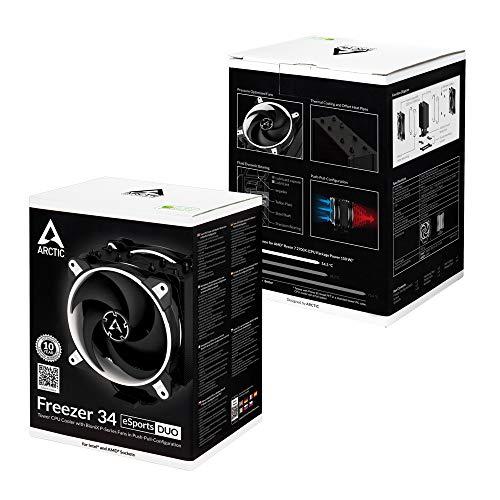 ARCTIC Freezer 34 eSports DUO – Dissipatore di processore semi-passivo con 2 ventole da PWM 120 mm per Intel: 115x/2011-3/2066, AMD: AM4, Dissipatore per CPU con raffreddamento fino a 210 W – Bianco