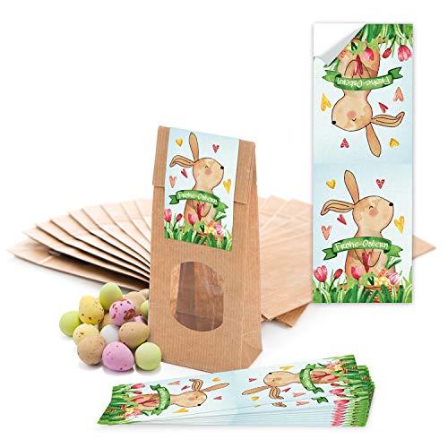 Logbuch-Verlag 10 kleine Ostertüten Papiertüten Kraftpapier braun mit Fenster Beschichtung 7 x 4 x 20,5 cm Verpackung + Osternest Osteretiketten Frohe Ostern Aufkleber bunt rot grün gelb