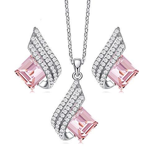 Beforya Paris Fantasy Jewellery Set 925 Silver – Many Colours – Beautiful Women's Jewellery Set with Swarovski Elements Crystals – Jewellery Set with Gift Box pink