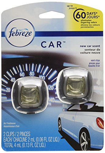 Febreze Car Air Fresheners, New Car Scent, Odor Eliminator for Strong Odors Car Vent Clips (2 Count)